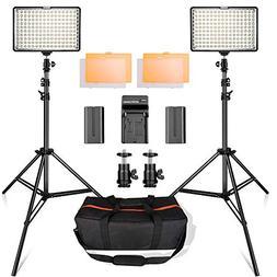 LED Video Light Kit with 2M Light Stand, SAMTIAN 2-Pack Dimm