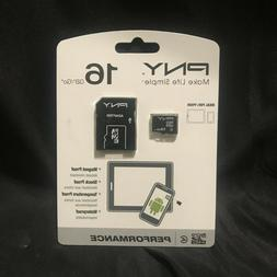 PNY 16gb Micro SD HC Memory Card with SD Adapter   P-SDU164-