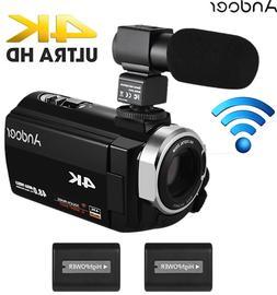 "ANDOER 3"" 4K HD DIGITAL VIDEO CAMERA 16X WIFI 48MP CAMCORDER"