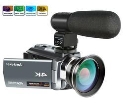 4K Camcorder, Ansteker 48MP 30FPS Ultra HD WiFi Video Camera