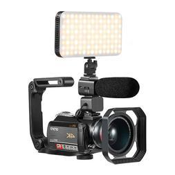 4K Camcorder, Ordro 4K Wifi Video Camera Kit with 12X Optica