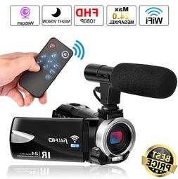 4k Camcorder with Microphone Full HD 1080P Vlogging Camera