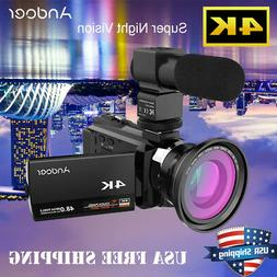 Andoer 4K HD 48MP Night View Digital Video Camcorder Camera