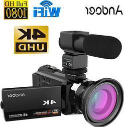 4K 1080P 48MP WiFi Digital Video Camera Camcorder & 0.39X Wi