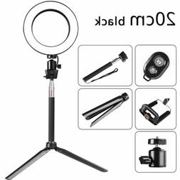 "8"" Dimmable LED Ring Light Stand Camcorder Light For Makeup"