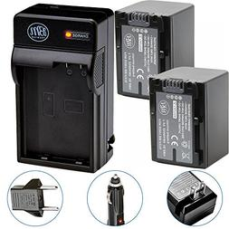 Pack Of 2 NP-FV70 Batteries & Battery Charger Kit for Sony H