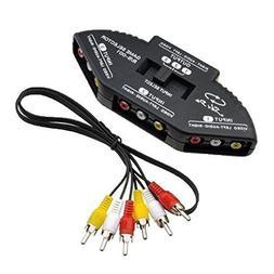 Importer520 Black 3-Way Audio Video AV RCA Switch Selector B