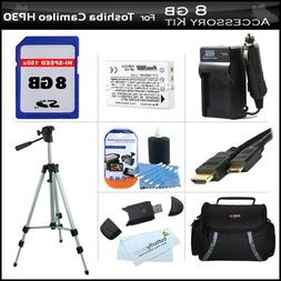 8GB Accessory Kit For Toshiba Camileo X100 H30 HD Camcorder