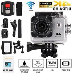 Action Camera 4K WiFi 1080P HD Remote Control Waterproof Spo