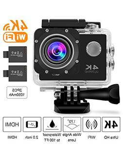 Beownwear 4K Action Camera WIFI 170 Degree Wide Angle Lens F