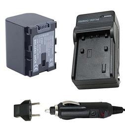 Battery and Charger for JVC Everio GZ-E100AU, GZ-E100BU, GZ-