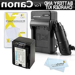 Battery And Charger Kit For Canon VIXIA HF R700, HF R72, HF