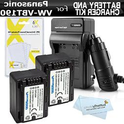 2 Pack Battery and Charger Kit for Panasonic HC-V770K, HC-WX