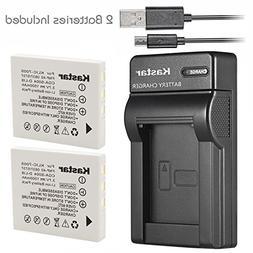 Kastar Battery 2 Pack & Slim USB Charger for Fujifilm NP-40,