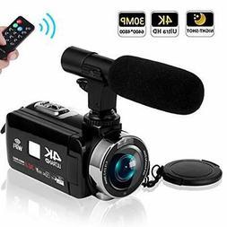 "SEREE Camcorder 4K 30MP WiFi Control Digital Camera 3.0"" T"