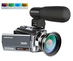 4K Camcorder,Ansteker 48MP 30FPS Ultra HD WiFi Video Camera