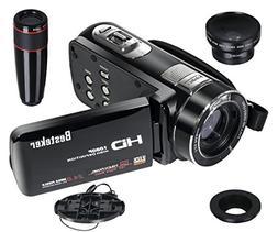 Besteker Camcorder 1080P IR Night Vision 16X Digital Zoom 24