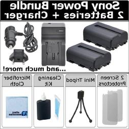 Complete Starter Kit by eCost + 2 NP-FM500H Batteries + AC/D