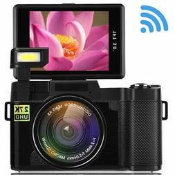 Seree Digital Camera Camcorder WiFi Vlogging Camera 2.7K Ult