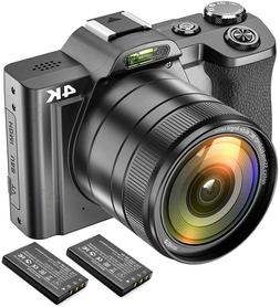 Digital Video Camera 4K Camcorder Ultra HD 48MP WiFi YouTube
