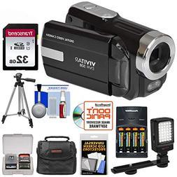 Vivitar DVR-508 HD Camcorder + 32GB Card + Batteries & Charg