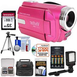 Vivitar DVR-508 HD Camcorder  + 32GB + Batteries & Charger +