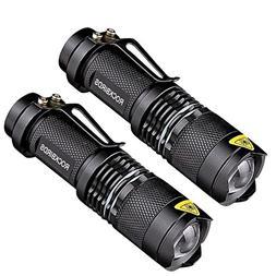 2 Pack Flashlights, ROCKBIRDS LEDFlashlight with Belt Clip,