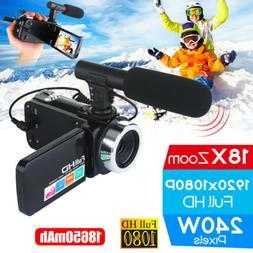 "Full HD 1080P 24MP 18X Zoom 3"" LCD Digital Camera Video Reco"
