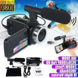 Full HD 1080P 24MP 18X Zoom 3 inch LCD Digital Camera Video