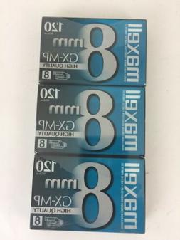 Maxell GX-MP High Quality 120 8mm Camcorder tapes, 3 Pack