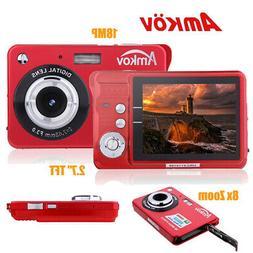 "HD Digital Camera 18MP 2.7"" TFT 8x Zoom Smile Capture Anti-s"