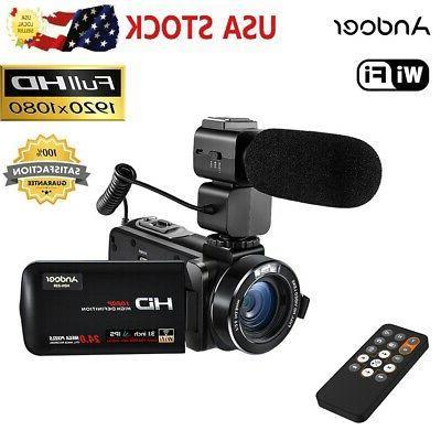 Andoer 24MP WiFi Digital Camera Camcorder Mic O8T5