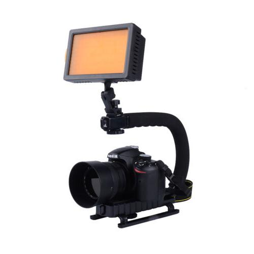 160 LED Video Light U Shape Bracket  Stabilizer Handle Grip
