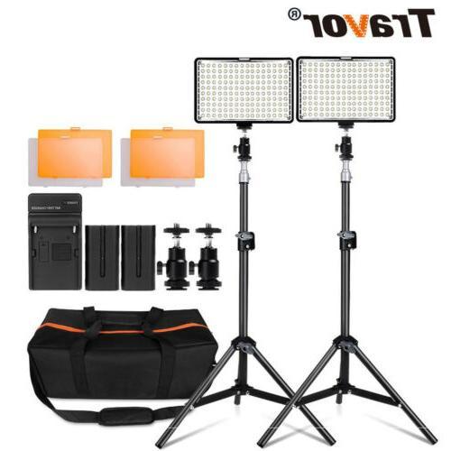 Travor 2Pcs/Kit Dimmable LED Panel Lights For Studio Camera