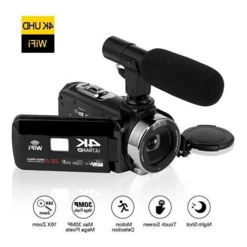 4k camcorder video camera w microphone 30mp
