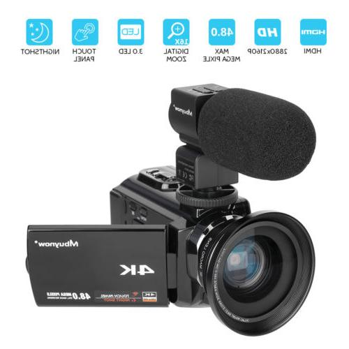 4K HD Digital Camcorder 16X Zoom WiFi MP Video Camera & IR