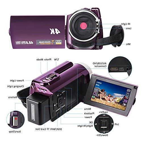 Video 48MP 4K Camcorder Digital Camera Camcorders IR Vision External Wide