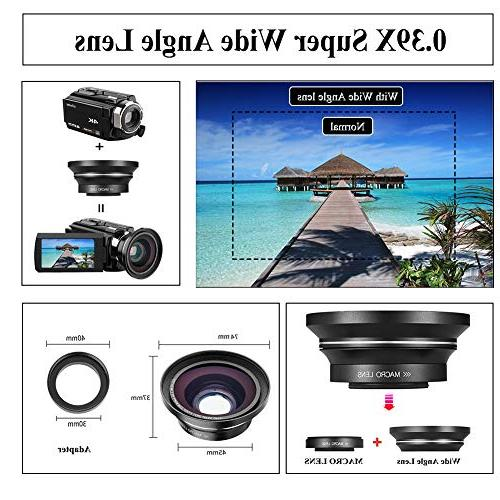 "Video 4K AiTechny Ultra WiFi Camera 16X Digital Zoom Recorder 3.0"" Touch IR Vision Microphone, Angle LED Video Light, Bag"