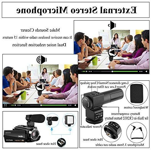 Video Camera 4K WiFi Touch IR Vision Angle Lens, Light, 2 Bag