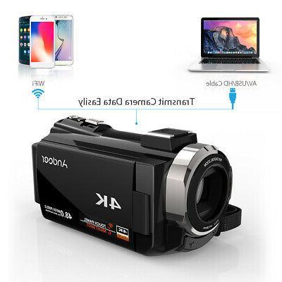"Andoer 3"" Digital Camera Camcorder 4K WiFi Ultra HD 1080P 16X DVR"