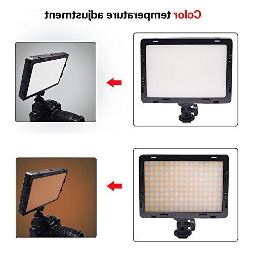 Mcoplus Air-1000b 160pcs CRI95 Bi-color Digital Light for Canon Nikon Sony Camera NP-550 Battery+charger(Black)