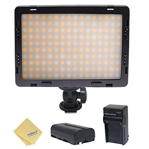 Mcoplus Air-1000b Bi-color Dimmable Panel Digital Led Light for Nikon Sony Olympus Camera Battery+charger(Black)