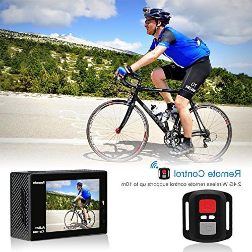 AKASO 4K 20MP WiFi Ultra HD with EIS 30m Remote Control Zoom Underwater with Batteries Helmet Kit
