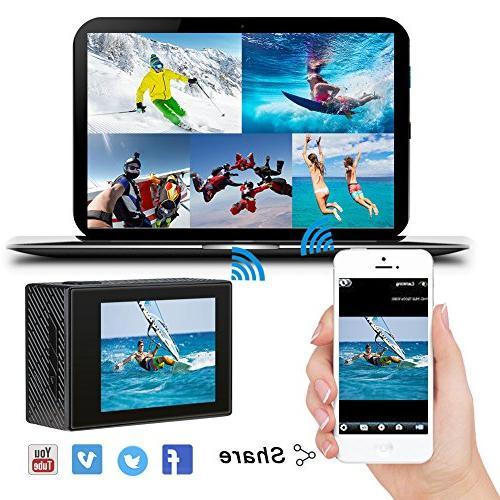 AKASO Brave 4K 20MP WiFi Ultra HD 30m Underwater Remote Underwater Camcorder with 2 Batteries Helmet Accessories Kit
