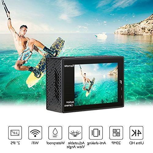 AKASO Brave 20MP Ultra HD EIS 30m Underwater Camera Remote Underwater with Batteries Kit