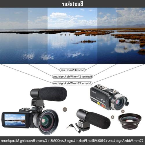 Camcorder,Besteker 1080P IR Night Vision HD Digital and