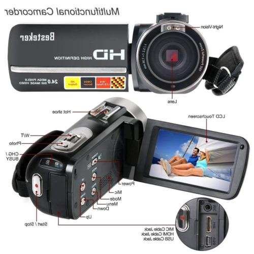 Camcorder,Besteker IR Vision Full HD Digital and