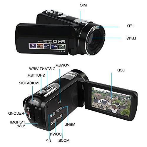 Camcorder Camera Full HD 1080P MP Digital Camera Digital Zoom Portable Recording
