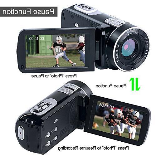 """Digital Video Camera SEREE Full HD Vlog Camera 24.0MP Digital Zoom 3.0"""" Screen Night"""