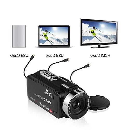 SEREE Camcorder 1080P 30FPS Vlogging Camera with Remote IR Night LCD Screen Video with Microphone